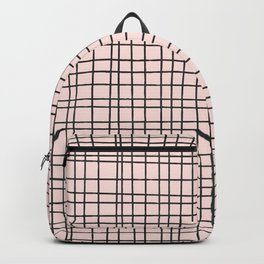 Back to Schoo l- Simple Grid Pattern- Black & Pink - Mix & Match with Simplicity of Life Backpack