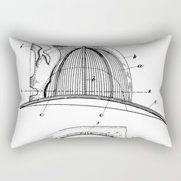Firemans Helmet Patent - Fireman Art - Black And White Rectangular Pillow