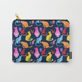 Happy Cats On Midnight Blue Carry-All Pouch