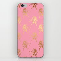 bisexual iPhone & iPod Skins featuring Golden Unicorns on rose quartz pattern by Better HOME