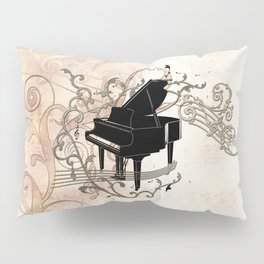 Music, piano with key notes and clef Pillow Sham