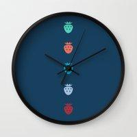 fruits Wall Clocks featuring Fruits by Yasmina Baggili