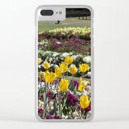 Tulips in the park Clear iPhone Case
