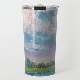Landscape with lake, fields, forest and blue sky drawing by pastel Travel Mug