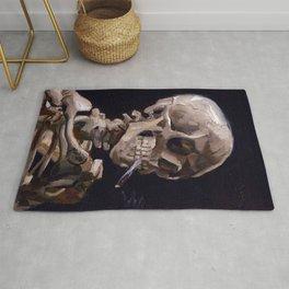 Vincent Van Gogh - Skull with Burning Cigarette (new color edit) Rug