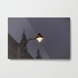 Gaslight Lantern Winter Metal Print