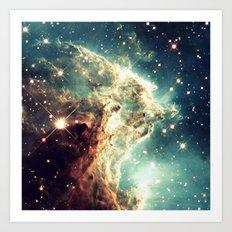Nebula. Monkey Head Dreamy Art Print