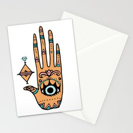 evil eye hand illustration Stationery Cards