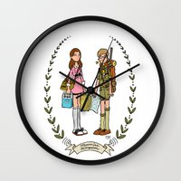moonrise kingdom Wall Clocks featuring Moonrise Kingdom  by Dueling Doodlers