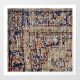 Vintage Woven Navy Blue and Tan Kilim  Art Print