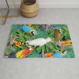 Macaw Parrots - Bird of Paradies Jungle Butterflies Rug