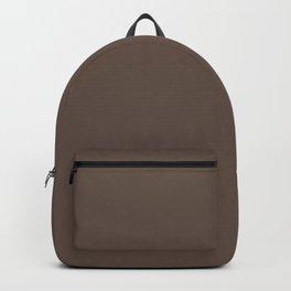 Dark Greyish Brown Solid Color Backpack
