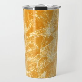 Mixed color Poinsettias 3 Outlined Orange Travel Mug