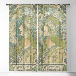 Emerald Green Vintage Astrology Poster   Alphonse Mucha Sheer Curtain