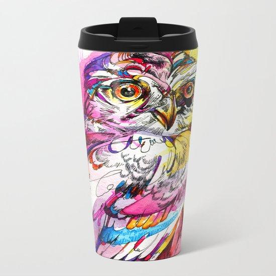 Neon Northern Pygmy Owl Metal Travel Mug