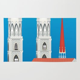 Zurich, Switzerland - Skyline Illustration by Loose Petals Rug