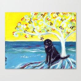 Black Labrador butterfly love art deco tree Canvas Print