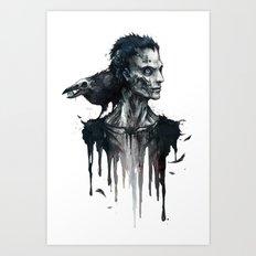 Zombie and Crow Art Print