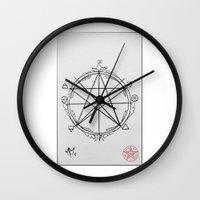 pentagram Wall Clocks featuring Elemental Pentagram by sparkplug95