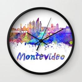 Montevideo skyline in watercolor Wall Clock