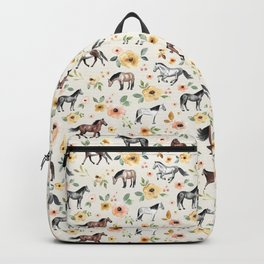 Horses and Flowers, Sunrise Floral, Cream, Horse Print, Horse Illustration, Pink and Yellow, Equestrian, Little Girls Backpack