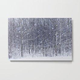 snowfall against the woods Metal Print