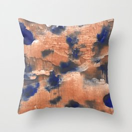 Peach Blue colorful watercolor design Throw Pillow