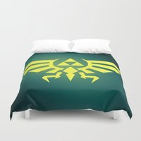 triforce Duvet Covers featuring Zelda Triforce by WaXaVeJu