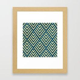 ROMBI GOLD & BLUE Framed Art Print
