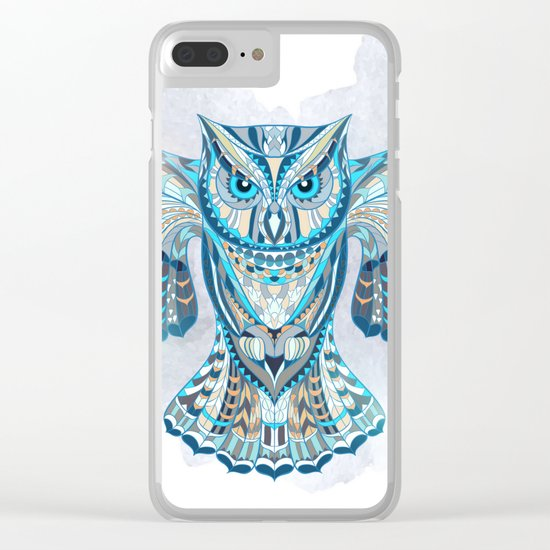 Blue Ethnic Owl Clear iPhone Case