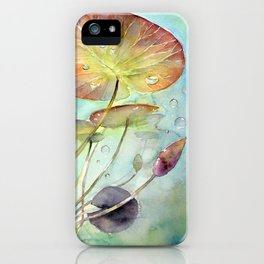 Waterlily Watercolor Lilypad Illustration Pond Surreal Art Botanical Painting iPhone Case