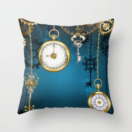 Steampunk Design with Clocks and Gears Throw Pillow