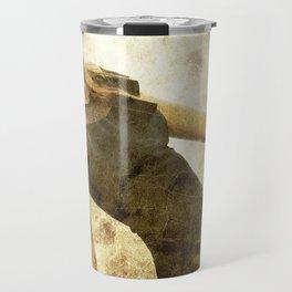 bella ragazza su fondo steampunk vintage Travel Mug