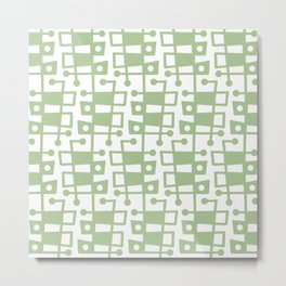 Mid Century Modern Abstract 213 Sage Green Metal Print
