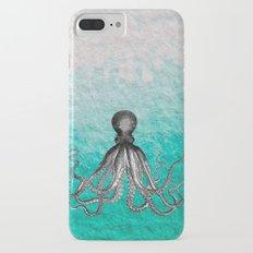 Antique Nautical Steampunk Octopus Vintage Kraken sea monster ombre turquoise blue pastel watercolor iPhone 7 Plus Slim Case