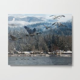 Geese over Wintery Lake Metal Print
