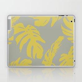 Simply Mod Yellow Palm Leaves on Retro Gray Laptop & iPad Skin