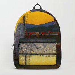 A Clean, Well-lighted Place (Room with a View) landscape painting by Harald Sohlberg Backpack