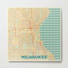 Milwaukee Map Retro Metal Print