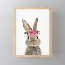 Bunny with Flower Crown Framed Mini Art Print