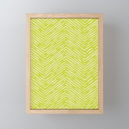Chartreuse hand drawn pattern Framed Mini Art Print