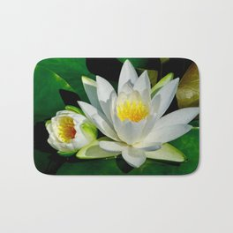 White Water Lily and Bud in Pond Bath Mat