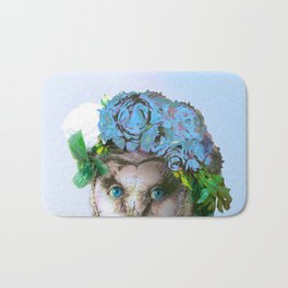 Cool Animal Art - Owl with a Flower Crown Bath Mat