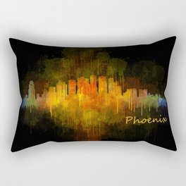 Phoenix Arizona, City Skyline Cityscape Hq v4 Dark Rectangular Pillow