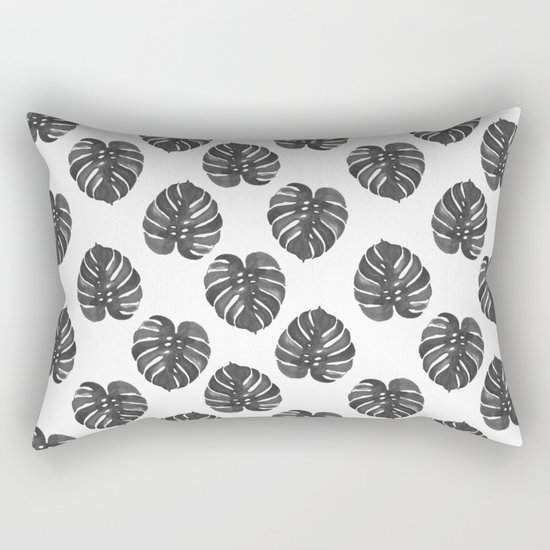 Monstera house plant leaf black and white painting  hipster indoor house plant tropical garden   Rectangular Pillow