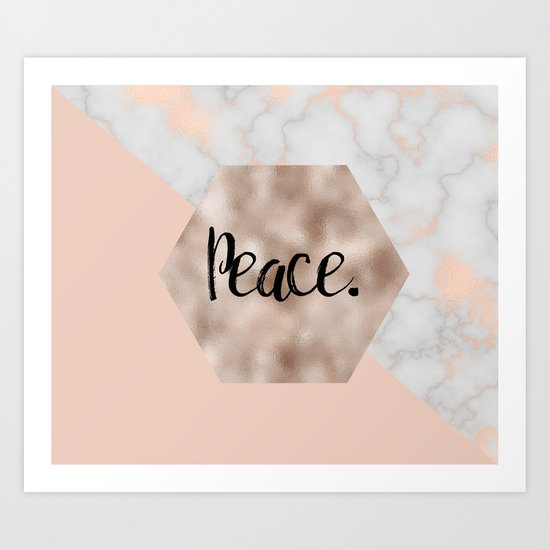Rose gold layers - peace Art Print