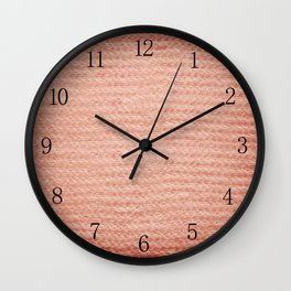 Sepia fuzzy knitted fabric texture abstract Wall Clock