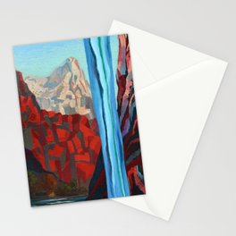Through the Narrows, Zion National Park Painting Stationery Cards
