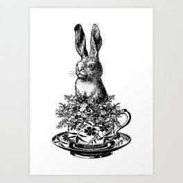 Rabbit in a Teacup | Rabbit and Flowers | Bunny Rabbits | Bunnies | Easter Rabbits | Black and White Art Print