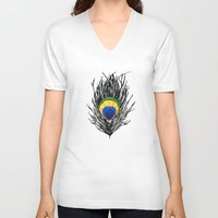 peacock feather V-neck T-shirts featuring Peacock Feather by Kayt Hester Masking Tape